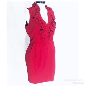 Andrew Marc Red Ruffled and Pleated Cocktail Dress